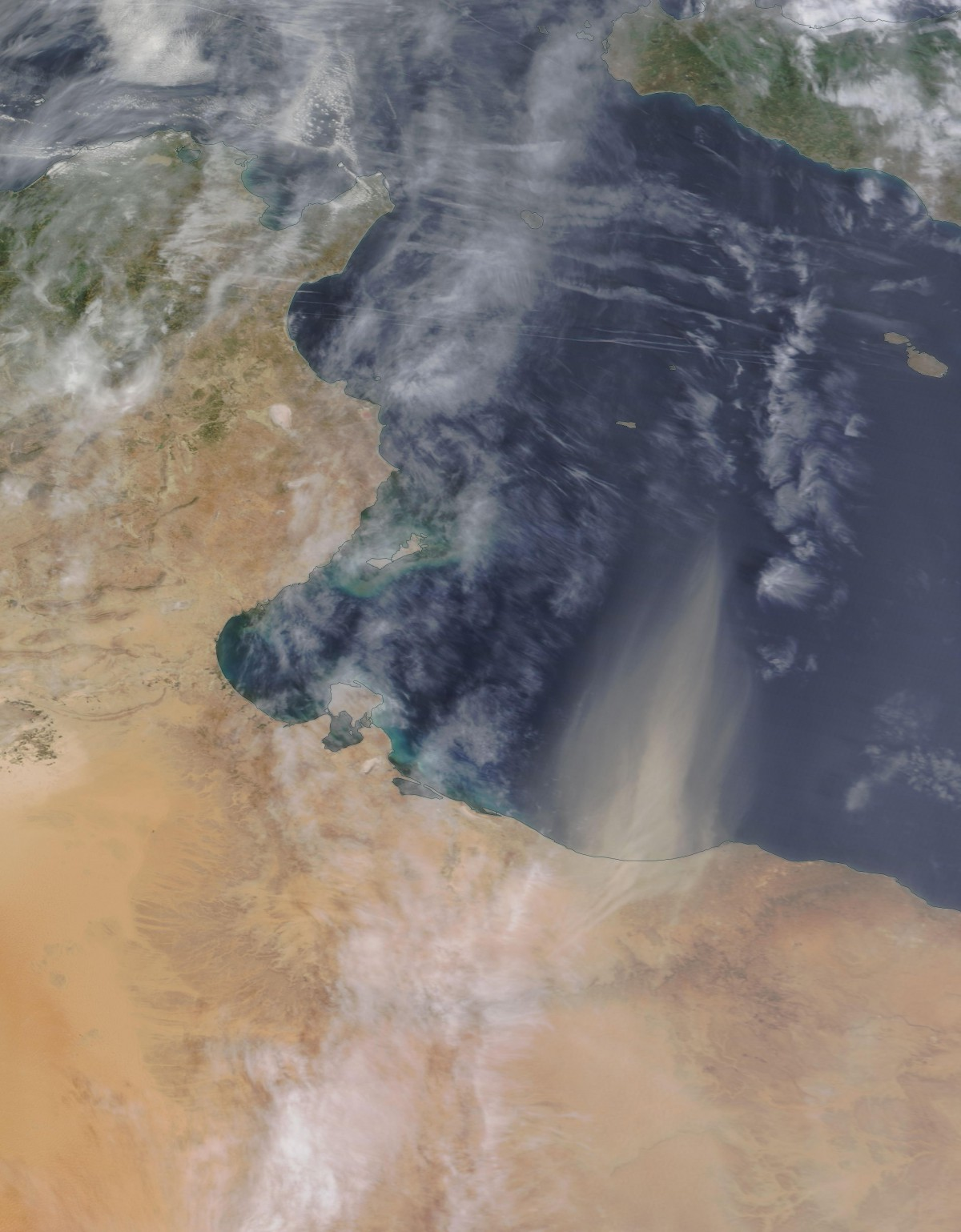 Saharan dust over the Mediterranean near Tripoli