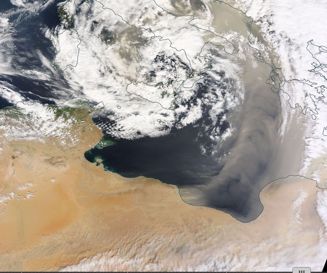 Airbourne Desert Sands Mark Out Cold Front in Eastern Mediterranean
