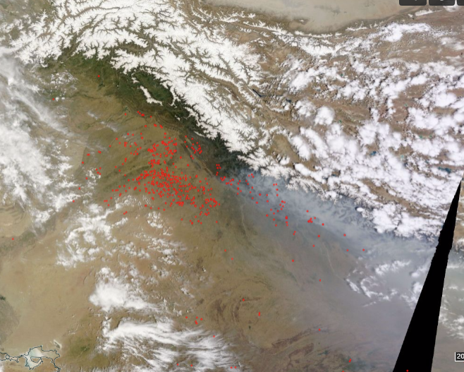 Analysis of Fires from Space in Northern India and Nepal